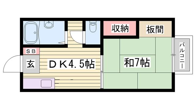 物件番号: 1115188371  姫路市新在家1丁目 1DK ハイツ 間取り図