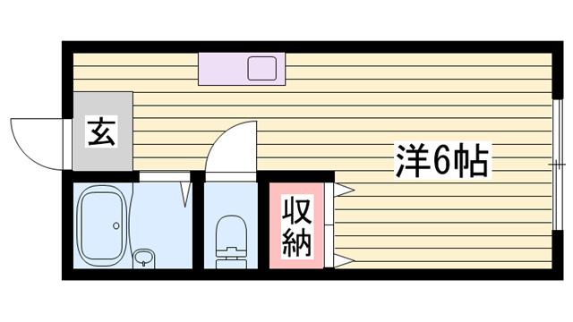物件番号: 1115188401  姫路市玉手1丁目 1R ハイツ 間取り図