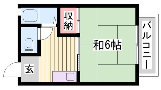 物件番号: 1115188423  加古川市平岡町新在家 1K ハイツ 間取り図