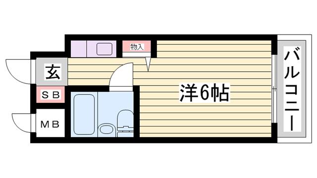 物件番号: 1115188431  姫路市野里 1R マンション 間取り図