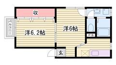 敷金0円 エアコン BS対応 101の間取
