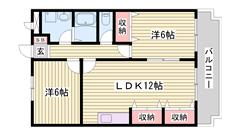 3DKから2LDKになりました♪広いリビングでオススメです!使いやすい間取り♪ 302の間取