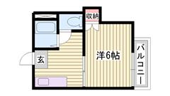南向き角部屋 バス・トイレ別 駅近物件です 201の間取