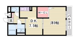 駐車場1台家賃に含む オートロック 浴室乾燥機 シャンプードレッサー付き  202の間取
