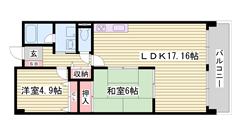 都市ガス☆ 収納スペース多数 広々バルコニー 閑静な住宅街 103の間取
