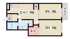 敷金なし 専用庭付き ウォークインクローゼット有り CATV対応 103の間取
