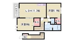 平成22年3月完成 敷金0円プランでラクラク入居可能 設備も充実 201の間取