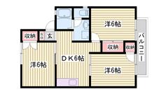 屋根付駐車場1台込み☆山陽電鉄白浜の宮駅徒歩6分です♪ 201の間取