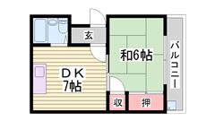 姫路駅まで徒歩圏内! 202の間取