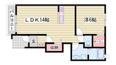 敷金0円物件☆ うれしいエアコン付き!! 大きな収納スペースが有ります♪ 104の間取
