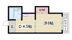 イオンまで徒歩2分☆ガスコンロ付き!!人気の最上階♪ 201の間取