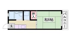 敷金0円物件 エアコン1台付き♪ 買物・交通便利な場所♪ バス停近く有 205の間取