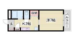 駐車場1台込み☆ うれしい照明器具・エアコン完備!! 最上階角部屋♪ 302の間取