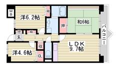 姫路駅まで徒歩圏内のファミリー向けマンションンです! 都市ガス仕様♪ 502の間取