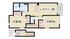 敷金0円契約可能 2階角部屋 BS・CATV対応  201の間取