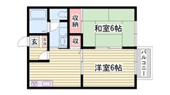 夢前川近くの閑静な住宅街 駐車場1台分込み 202の間取