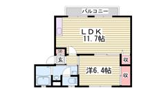 駐車場1台込み!2台目も空いてます!はりま勝原駅や大津イオン近いです! 201の間取