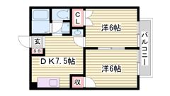 米田小校区☆ファミリーさんおすすめです♪スーパー近いです(^O^) 202の間取