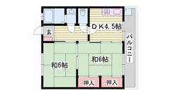 システムキッチン完備 駐車場完備 野里駅徒歩圏内です 3-2の間取