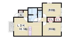 駐車場1台込み家賃 人気のカウンターキッチン 浴室テレビ付き 102の間取