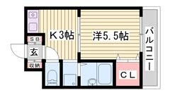兵庫大学まで徒歩8分!学生さんオススメ☆大きなクローゼットがいいですね♪ 111の間取