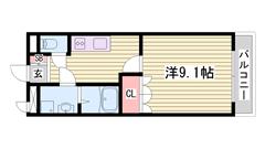 9帖の洋室が魅力的な1Kです♪2口コンロ完備のキッチンです! 102の間取