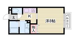 洗面台 エアコン バス・トイレ別 ガスキッチン設置可 203の間取