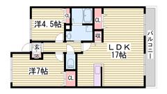 広々2LDKのマンションです★ 周辺に商業施設多数あり♪ 301の間取