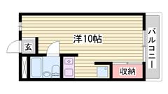 敷金ゼロ物件♪広めの1R☆人気の都市ガス仕様!! 203の間取