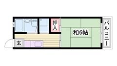 敷金0円物件 エアコン1台付き♪ 買物・交通便利な場所♪ バス停近く有 102の間取