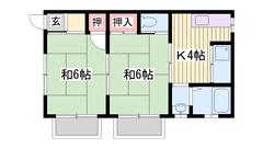 2DKでこのお家賃は要チェック!!網干西小学校まで徒歩5分(^O^) 1-Bの間取