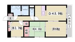 姫路駅徒歩圏内!立地良し!2DKで広々♪ 401の間取