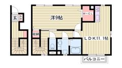 駐車場1台込み☆都市ガス仕様で経済的!室内小型犬又は猫1匹飼育可能! 202の間取