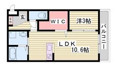 大人気東姫路駅徒歩圏内!都市ガスで駐車場1台付き♪ 302の間取