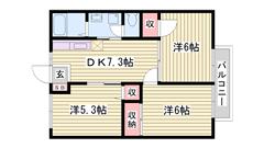 敷金0円 南向きバルコニーのお部屋です ご家族向け 205の間取