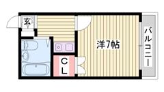 県立大学近いです!姫路にはなかなかない都市ガスでエアコン付き! 201の間取