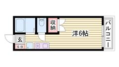 敷金0円☆ 駐車場1台込み☆ 単身さんにおすすめ物件ですよ!! 204の間取