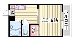 嬉しいエアコン1基付き!バス・トイレ別です!単身さんオススメです☆ 101の間取