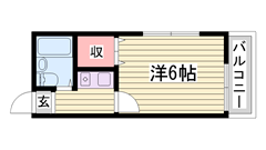 家賃お手頃!姫路駅も姫路城も近いです♪都市ガスです! 201の間取