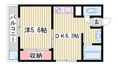 都市ガス物件♪姫路駅徒歩圏内のマンションです!オール洋室! 503の間取