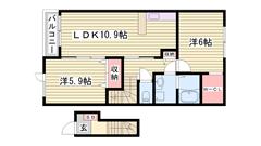 福田インター乗り口すぐで便利です☆ コンビニも近くに有りますよ~(^O^) 203の間取