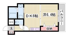 姫路駅まで徒歩5分です☆ 安心のセキュリティシステム!! 単身さんにおすすめ♪ 301の間取