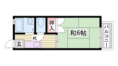敷金・礼金0円物件☆ バス・トイレ別 エアコン付きです♪♪ 203の間取