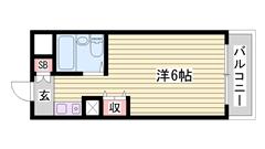 敷金・礼金0円マンション☆ 嬉しいオール電化仕様!! ミニ冷蔵庫付きです♪♪ 517の間取