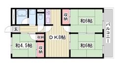 嬉しい駐車場1台込み☆ 飾磨駅まで徒歩5分!! ファミリーさんにおすすめ物件♪♪ 202の間取