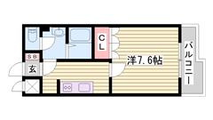 設備充実☆インターネット使用料込みのお家賃☆嬉しいエアコン完備(^O^) 106の間取