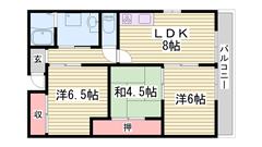 都市ガス仕様で経済的☆ バルコニーから姫路城が見えますよ!! 201の間取
