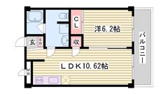 姫路駅徒歩圏のデザイナーズマンション☆ 充実の設備ですよ!! 205の間取