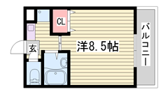 冷蔵庫・照明器具付き オートロック 1Eの間取
