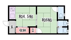 敷金・礼金0円物件☆ イオン徒歩2分ですよ!!  2-Eの間取
